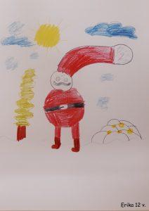 Joulukortti Erika TYKS lastenkliniikka 2020